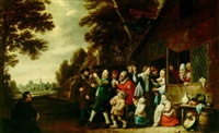 a procession of peasants leaving a country inn, playing musical instruments and singing by pieter nys