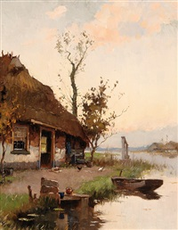 farm by the water's edge by johan hendrik kaemmerer