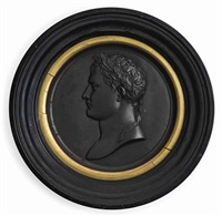portrait profile of napoleon (+ portrait profile of marie-louise; pair) by jean-bertrand andrieu
