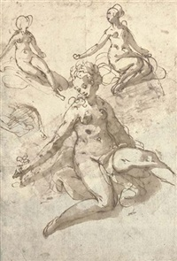 a seated female nude plucking a flower, with two subsidiary studies of the same figure by taddeo zuccaro