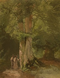 man and woman on wood path by charles rochussen