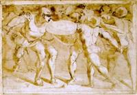 kämpfende in antiker rüstung by giovanni di cambiaso di bartolommeo