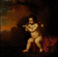bubble-blowing putto (+ standing putto; 2 works) by françois verwilt