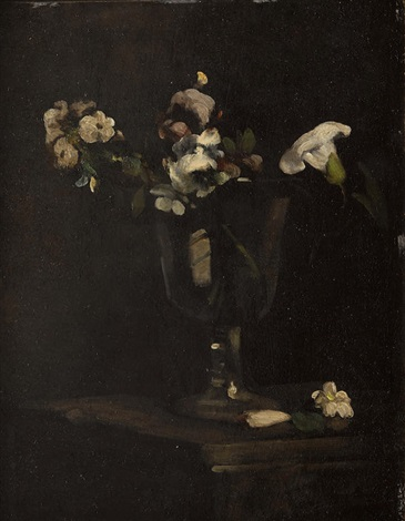 Flowers In A Footed Glass Vase By Thodule Ribot On Artnet
