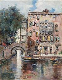 gondeln in einem venezianischen kanal by antonio maría de reyna manescau
