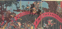 chōhi defending chōhan bridge, mounted on a black charger and carrying his formidable spear with sōsō fleeing by utagawa kuniyoshi