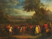 rencontre des échevins de valenciennes et du marquis de louvois à saint-waast-là-haut après la prise de la ville par les troupes de louis xiv le 17 mars 1677 by sauveur le conte