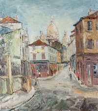 paris street scene with sacre coeur in the distance (+ another; 2 works) by george hann