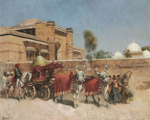 a wedding procession before a palace in rajasthan by edwin lord weeks