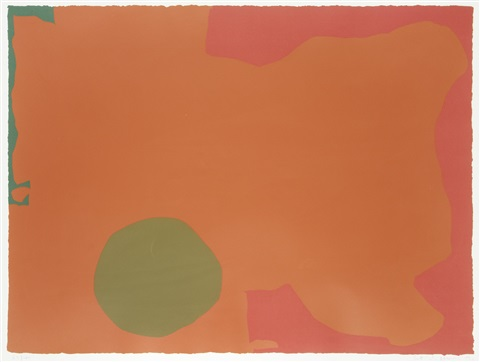 umber disc and red edge by patrick heron