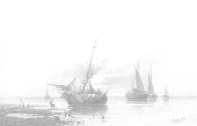 paisaje costero con barcas y pescadores by carlo chiostri