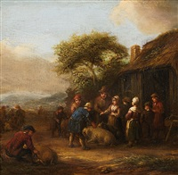 landscape with cottage and farmers with livestock by barend gael