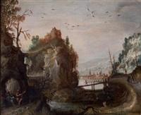 saint paul et saint antoine ermite nourris par un corbeau dans un paysage de rivière by philips de momper the elder