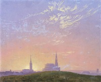 abend: sonnenuntergang hinter der dresdener hofkirche (evening: sunset behind dresden's hofkirche) by caspar david friedrich