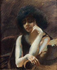 femme sur le balcon devant la fenêtre by zacharie astruc
