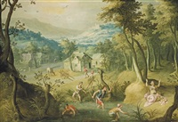 a mountainous river landscape with tyro exposing her sons to the wilderness by joos de momper the younger