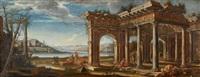 personnages sous les ruines d'un temple by viviano codazzi