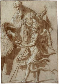 saint alexander filling a censer held by an angel by girolamo mazzola bedoli