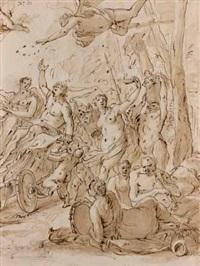 bacchanale (+ vierge à l'enfant adorée par saint pierre; verso) by luciano borzone