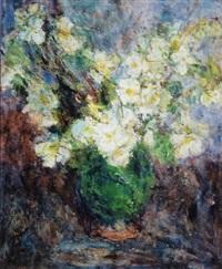 fleurs dans un vase vert by eugène ebiche