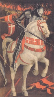 a knight in armor on a grey horse by paolo uccello
