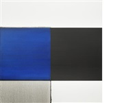 exposed painting cobalt blue by callum innes