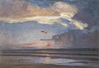 marine bij zonsondergang by richard baseleer