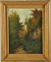 femme sur un chemin de forêt by paul langlois