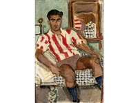 seated youth in olympiakos jersey by yannis tsarouchis