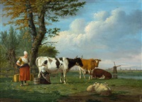 hirtinnen mit weidevieh vor weiter landschaft mit windmühle by anthony oberman