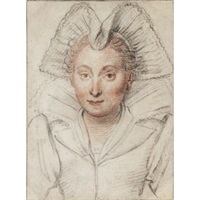 portrait of a lady, head and shoulders, wearing an elaborate headdress by federico zuccaro