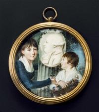 triple portrait du comte de la pallu et de ses filles annette, marquise de flers et constance, marquise de courtivron by françois hippolyte desbuisson dit hipolite