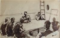 barrack room meeting by keith vaughan