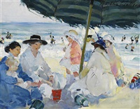 in the shade of the striped umbrella by martha walter