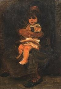 grandmother and child by pinchas litvinovsky