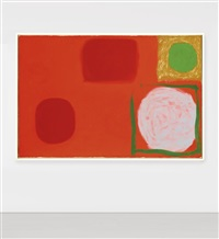 red painting with emerald disc: october by patrick heron