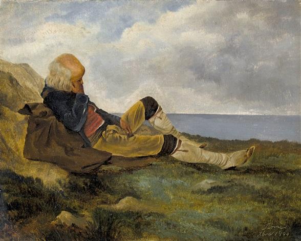 vieillard songeant près de la côte by alexandre calame