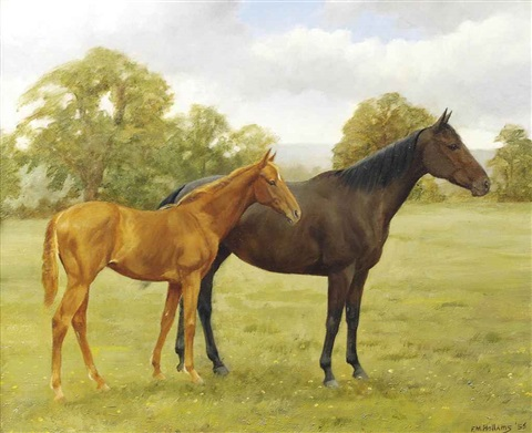 red ink and her foal in a landscape by frances mabel hollams