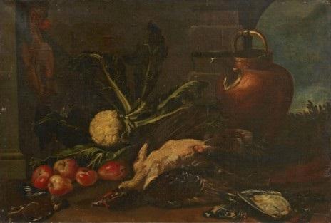 köksstilleben med frukter grönsaker och fåglar by cristoforo munari