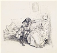 eighteenth-century couple in conversation (thou dear dissembler) (bk illus. for she stoops to conquer) by edwin austin abbey