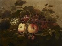 nature morte aux raisins, pommes et noisettes by roelof koets the elder