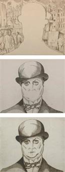 autoportrait au chapeau melon (+2 others; 3 works) by jean-emile laboureur