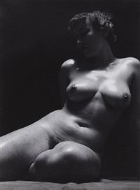 sitzender akt (sitting nude) by heinz hajek-halke