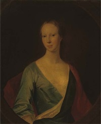 portrait of a lady (lady tinwald?) in a blue dress and red wrap by william aikman