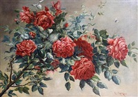 still life of roses on a branch by lea reinhart