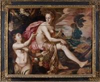 la nymphe cyané montrant à cérès la ceinture de proserpine by master of the prodigal son