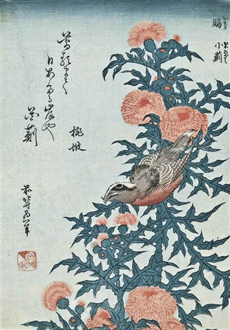 isuka ni oniazami (crossbill and thistle) from the small series of flowers and birds by katsushika hokusai