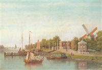 sailing boats on the amstel, amsterdam, with the stadhouderskade beyond by johannes jacobus antonius hilverdink