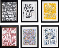 yellow people are..., black people are my..., yellow people..., green people are the white..., green people are america... and purple people do... (6 works) by william pope.l