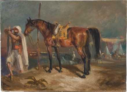 araber mit pferd by hans von marées